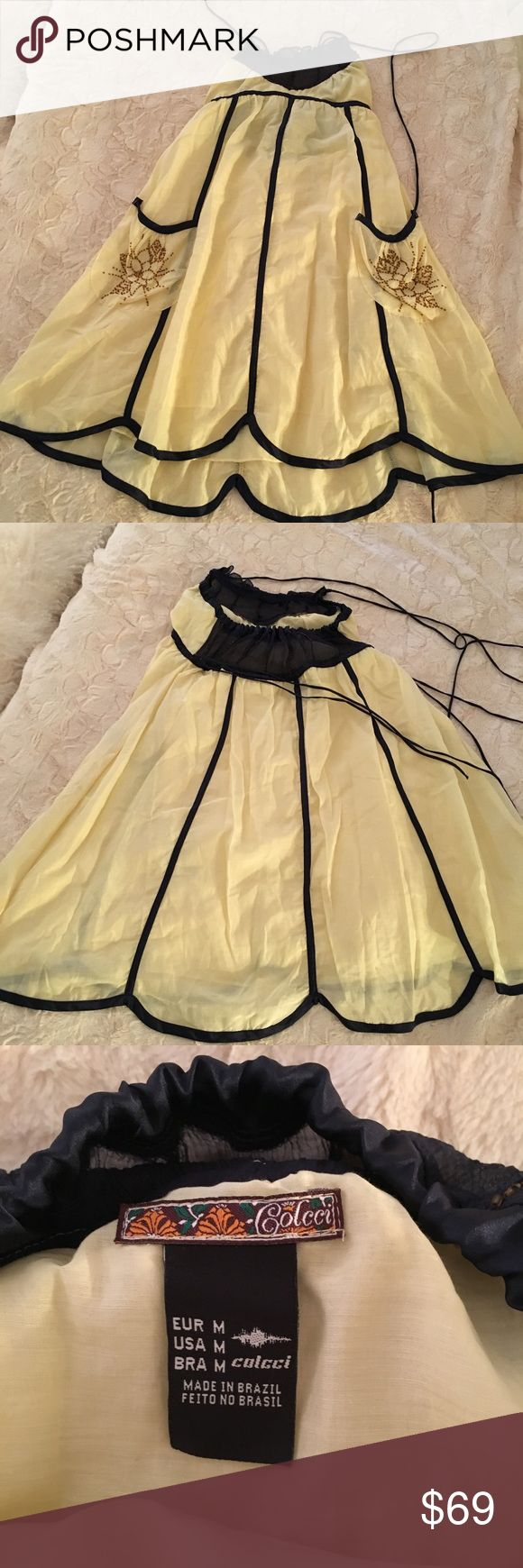 🌼 COLCCI Yellow and Blue Sundress Dress with straps which tie around neck. Very cute fun sun dress. Sheer fabric Colcci Dresses Mini