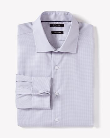 Non-iron fitted dress shirt in mini houndstooth