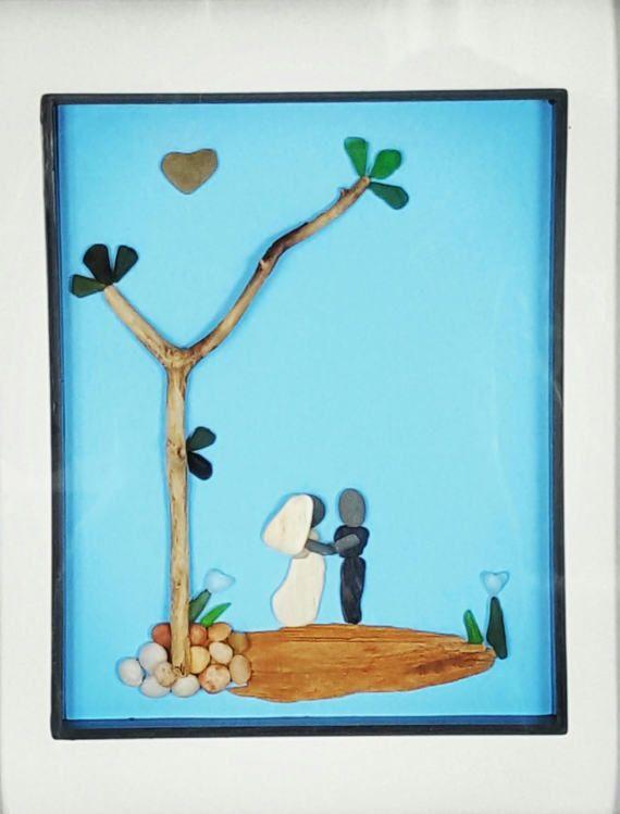 Pebble Art Bride & Groom Sea Glass Art by SeaglassArtNS One Of A Kind Home Decor. Beautiful Wedding Gift. #weddinggift #seaglassart #pebbleart #engagementgift #anniversarygift #uniquegifts #brideandgroom #beachlovers