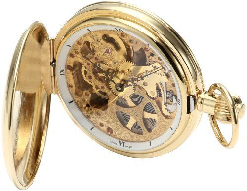 Catorex Men's 180.6.1665.000 Les Breuleux 18k Etched Brass Skeletal Dial Pocket Watch Catorex. $990.00. Etched in special design on outer covers. Automatic Self-Winding movement. 18 kt gold plated brass case. Designed skeletal dial. Black roman numerals on white inner bezel. Save 45%!