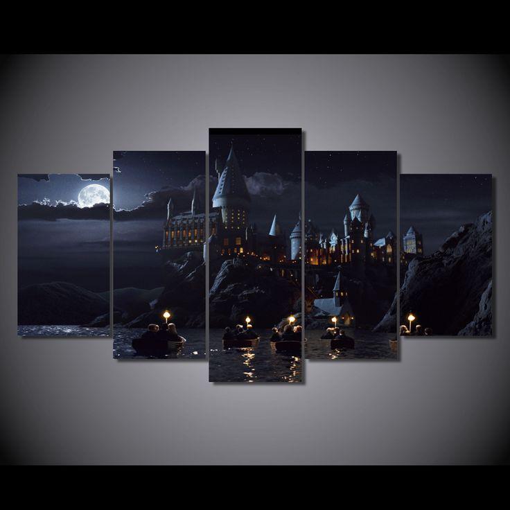 HD Baskılı 5 parça tuval Harry Potter Okul Kale Hogwarts Boyama odası dekorasyonu posterler ve baskılar sanat Ücretsiz nakliye/ny-6267