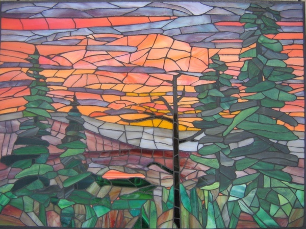 Salmon Sunset By Bev Delyea Mosaic Artwork Mosaic Art