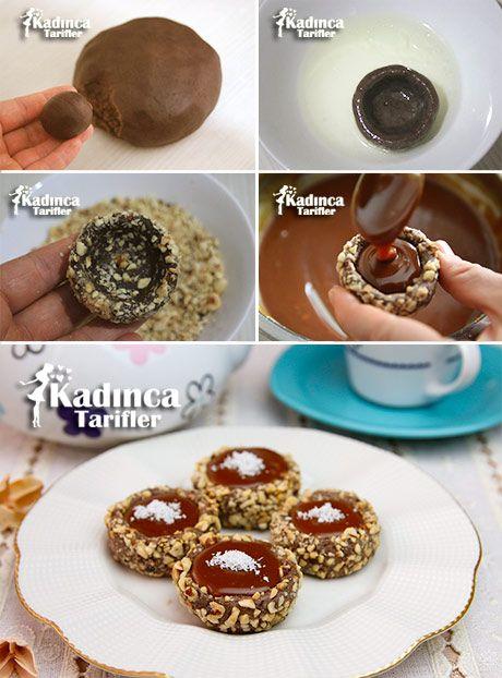 Kakaolu Fındıklı Karamelli Kurabiye Tarifi