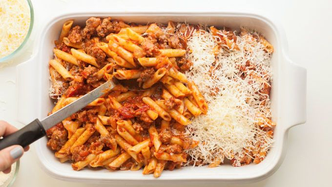Baked mostaccioli, baked ziti, baked penne—whatever you call this easy dish, if it's not a staple weeknight meal in your house, it should be. Get all the flavors of lasagna, minus the fuss, in this endlessly customizable pasta bake.