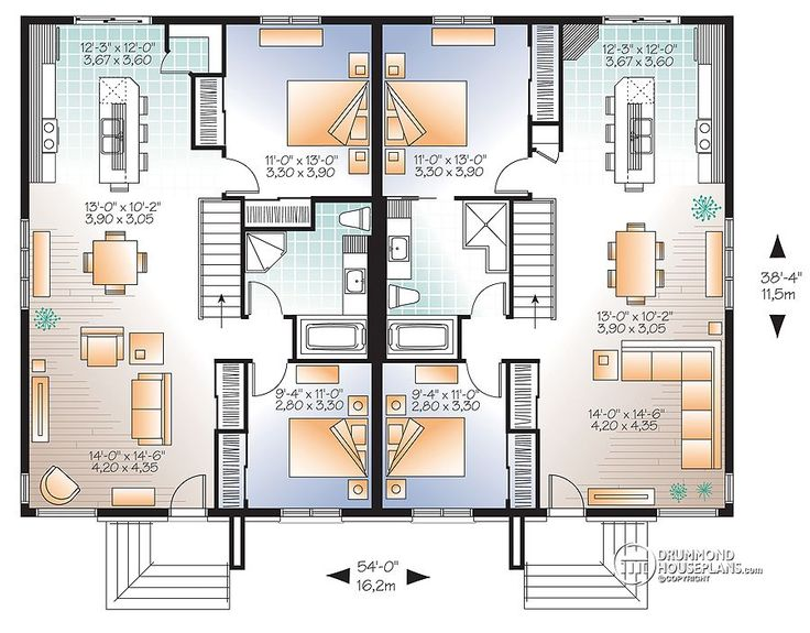Double Storey Semi Detached House Floor Plan: Multi Family Plan W2085-V3 Detail From DrummondHousePlans