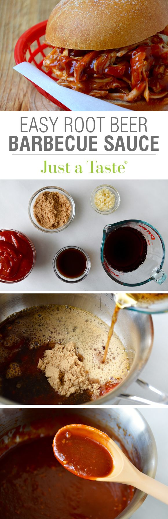 Easy Homemade Root Beer Barbecue Sauce #recipe from justataste.com