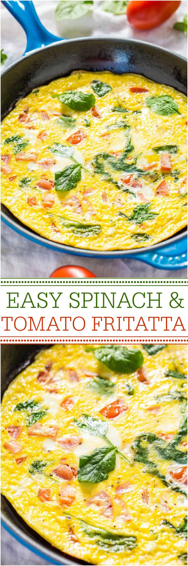 Easy Spinach and Tomato Frittata - Ready in 10 minutes and healthy! Perfect for any meal!! Great for #FathersDay brunch (and using up summer garden tomatoes!)