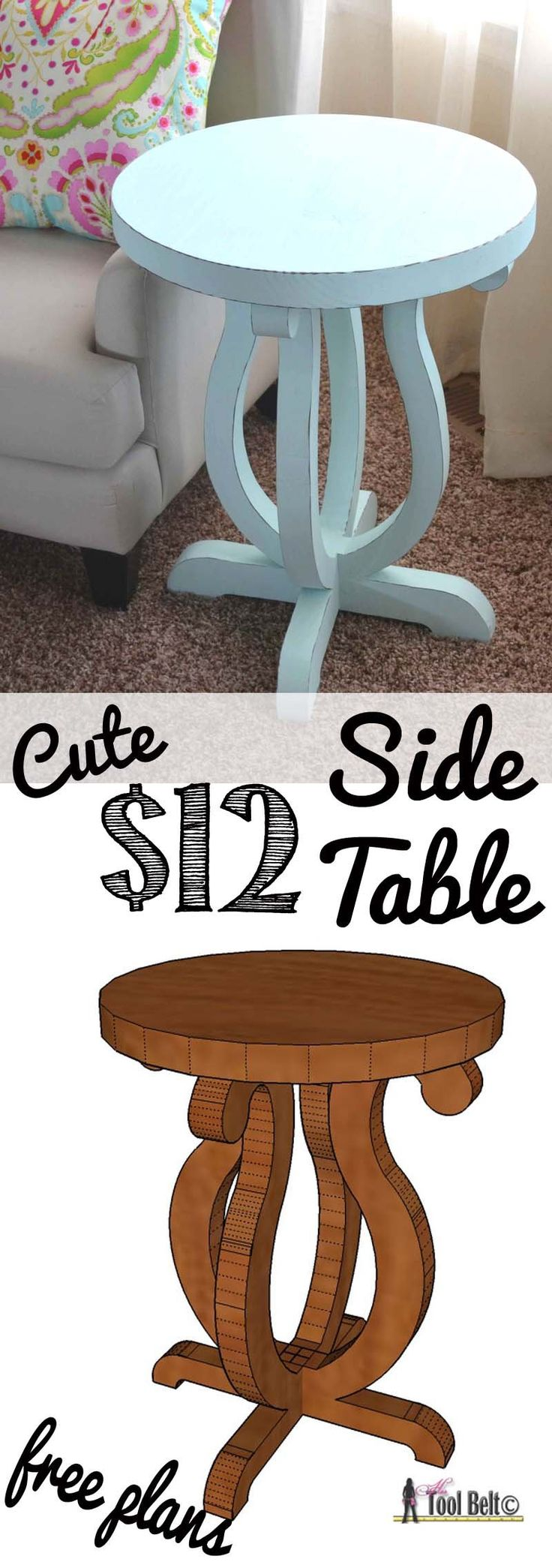Build a cute side table from a simple 2 x 10 board.  Free plans and pattern on hertoolbelt.com