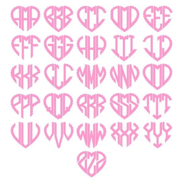 heart scalloped monogram font cuttable design cut file  vector  clipart  digital scrapbooking