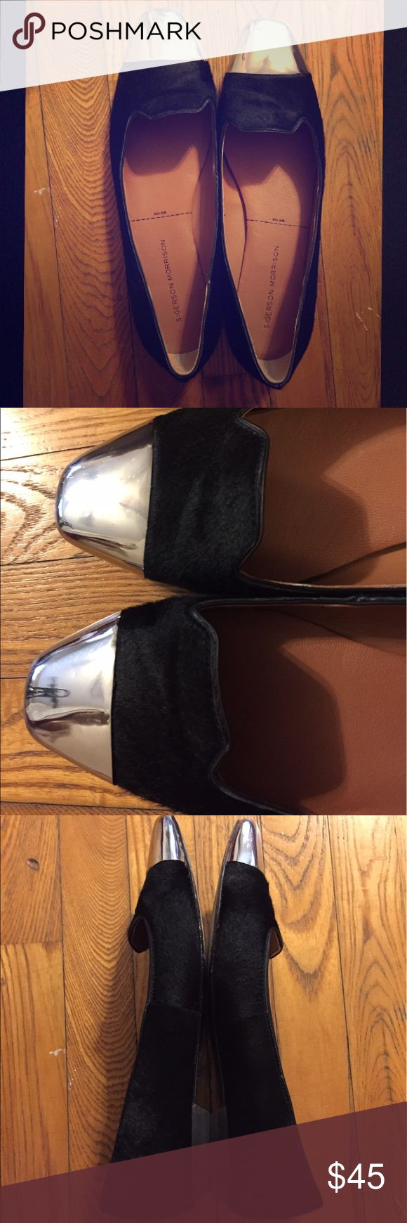 Sigerson Morrison Black Loafers with Silver toes Made of pony hair with mirror silver toes, leather sole and insole. Runs big as a loafer, these are a size 9.5m. Has some wear on soles, shown in photos Sigerson Morrison Shoes Flats & Loafers