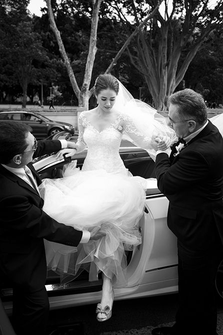 A bride must always, always exit a car like this! Graceful, elegant and the perfect way to show off #Valentino heels! #weddingphotography #markjayphotography #sydneyweddingphotographer #bride #pose #weddingcar #blackandwhite  #weddingdress #suzannablazevic  #hair @natalieannehair  #makeup @makeuptkos