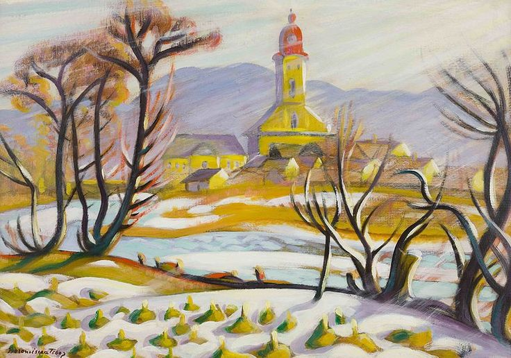 File:Tibor Boromisza - Bright Sunshine at Snow Break 49X69 oil on canvas, dedication to Mihaly Smaregla en verso 1913.jpg