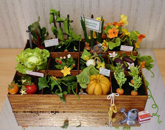 Fabulous garden cake, vegetables, flowers, signs in a wooden planter