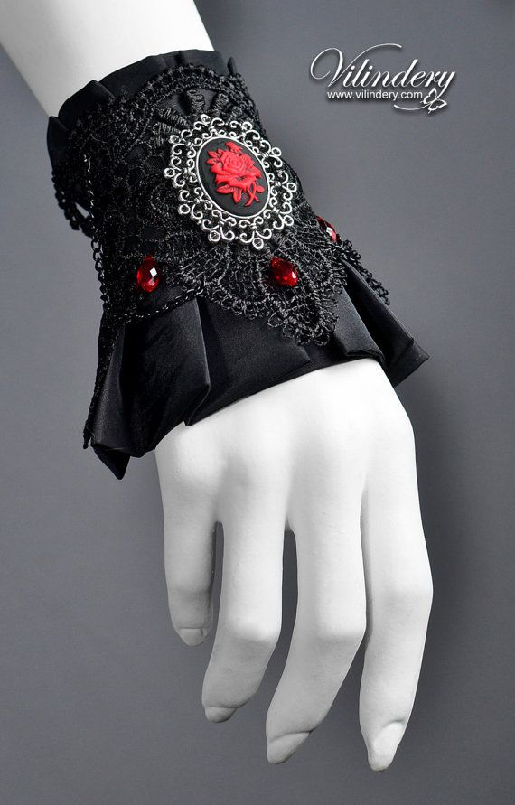 Little Vampire Cuff with Rose Cameo and Red Glass Crystals - Victorian Dark Fashion, Elegant Wedding Jewelry, Fabric Lolita Accessories