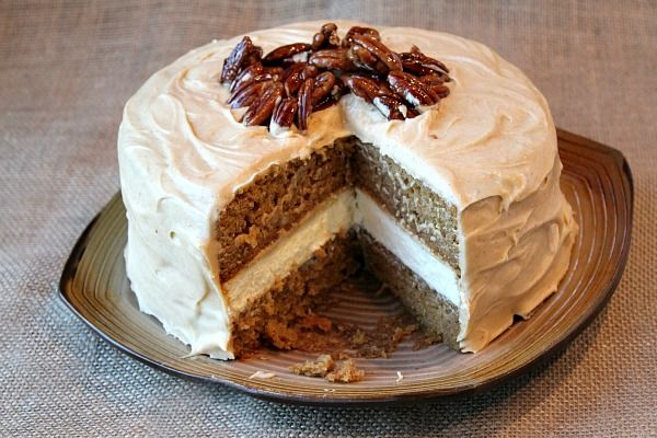 Pumpkin Cheesecake Cake with Pumpkin Cream Cheese Frosting & Candied ...
