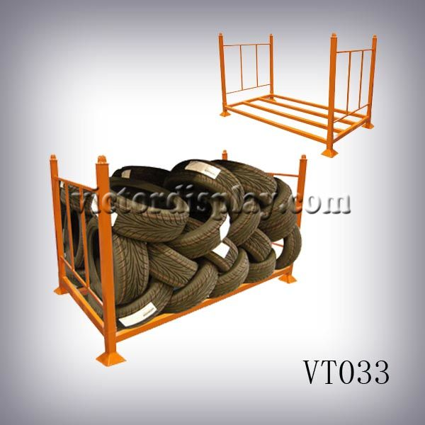tire display and presentation products: tire showroom rack,tire racks,tire display stands,tire storage rack,tire storage shelf at Xiamen Victor Industry & Trade Co., Ltd  www.victordisplay.com