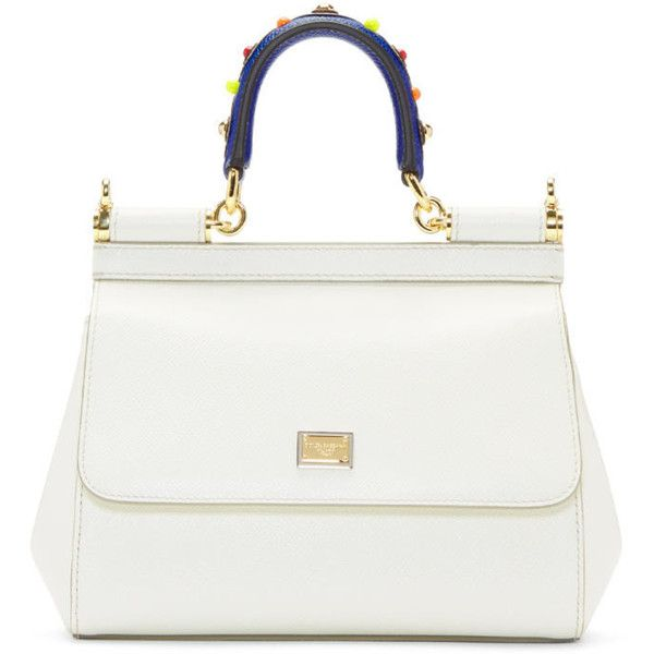 Dolce and Gabbana White Small Miss Sicily Bag ($1,355) ❤ liked on Polyvore featuring bags, handbags, shoulder bags, white, leather purses, genuine leather handbags, leather handbags, studded leather handbags and white purse