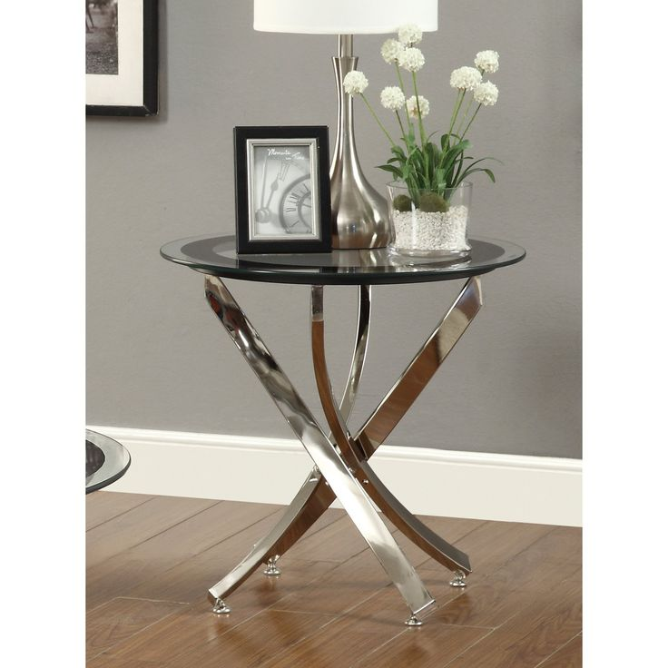 Coaster Furniture Round Glass Top End Table - Chrome - Sweeping curved metal blades of silver create a glamorous base for Coaster Furniture Round Glass Top End Table - Chrome . A round tempered glass top...