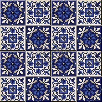 azulejo: Superbe seamless du bleu foncé et blanc marocaine, azulejos portugais, Azulejo, ornements. Peut être utilisé pour le papier peint, motifs de remplissage, fond de page web, des textures de surface.