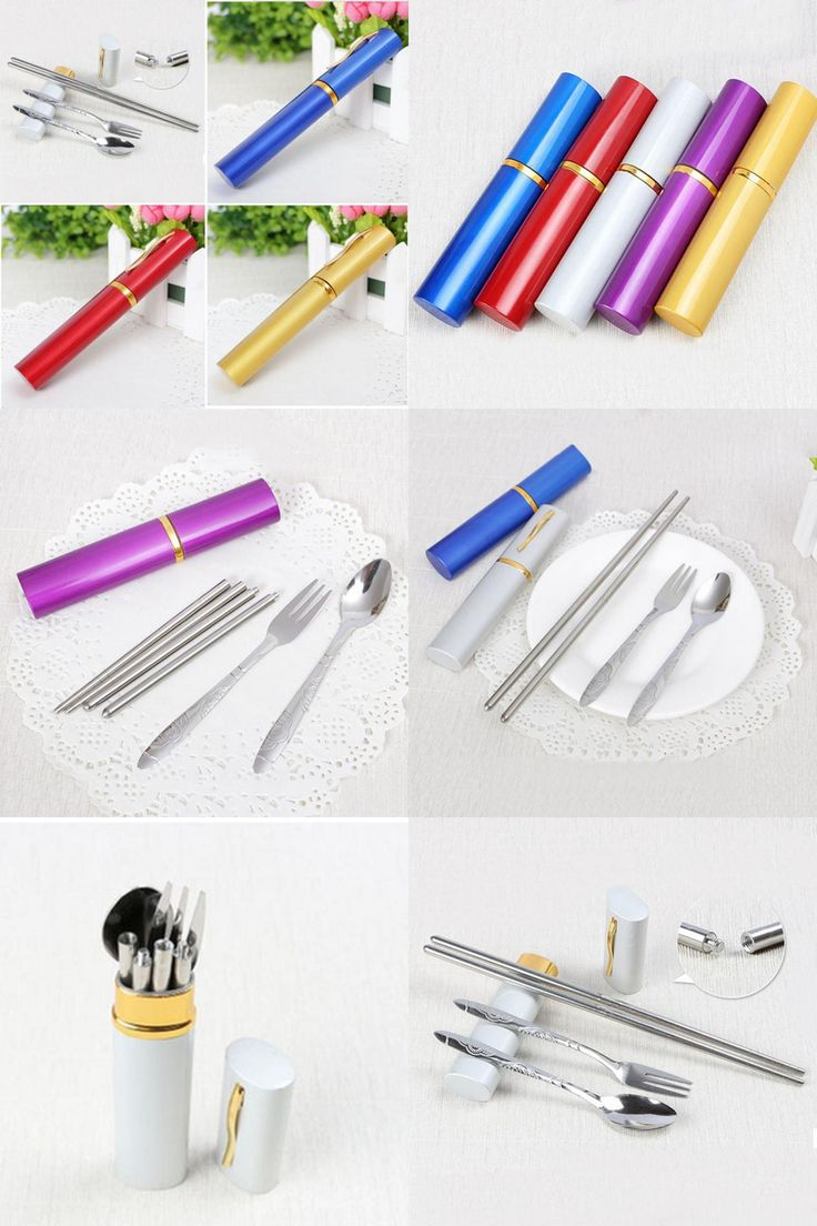 [Visit to Buy] Outdoor EDC Camping Stainless Steel Travel Easy Dinner Mini 3in1 Set Fork Spoon Chopstick Hot Sale #Advertisement