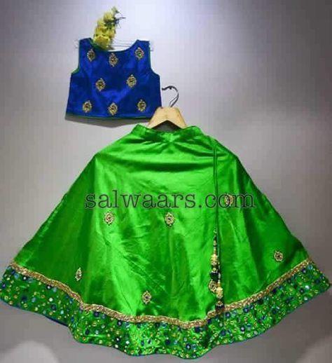 Green Raw Silk Lehenga - Indian Dresses