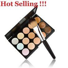 Nuevo 15 colores contorno cara crema corrector de maquillaje paleta Powder Brush 99.9% envío gratis K5BO(China (Mainland))