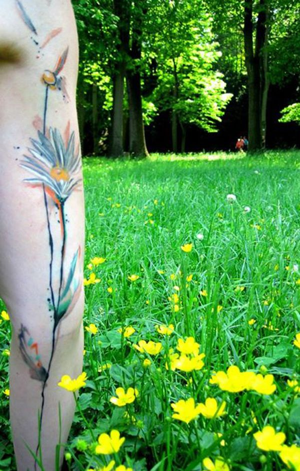14 Watercolor flower arm tattoo