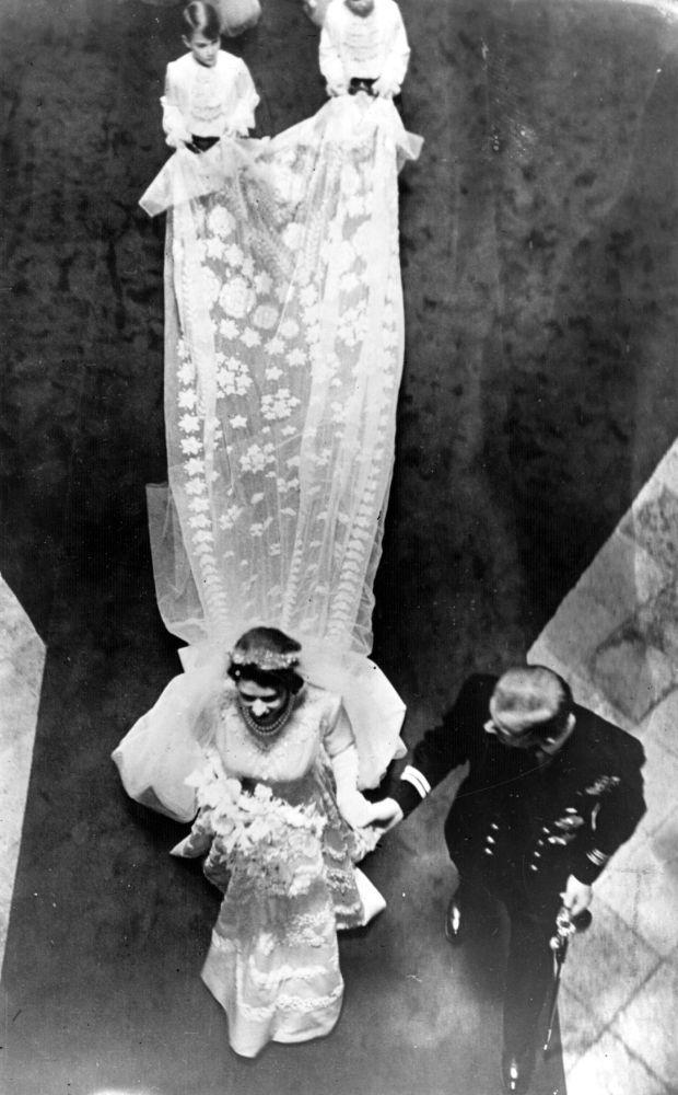 Princess Elizabeth and Prince Phillip on their wedding day, November 1947.
