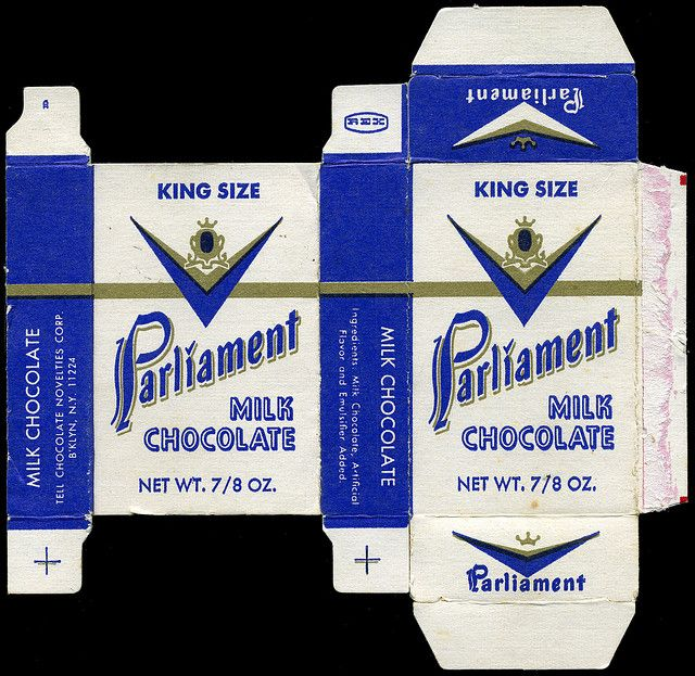 Tell Chocolate Novelties - King Size Parliament milk chocolate candy cigarettes box - 1970's by JasonLiebig, via Flickr