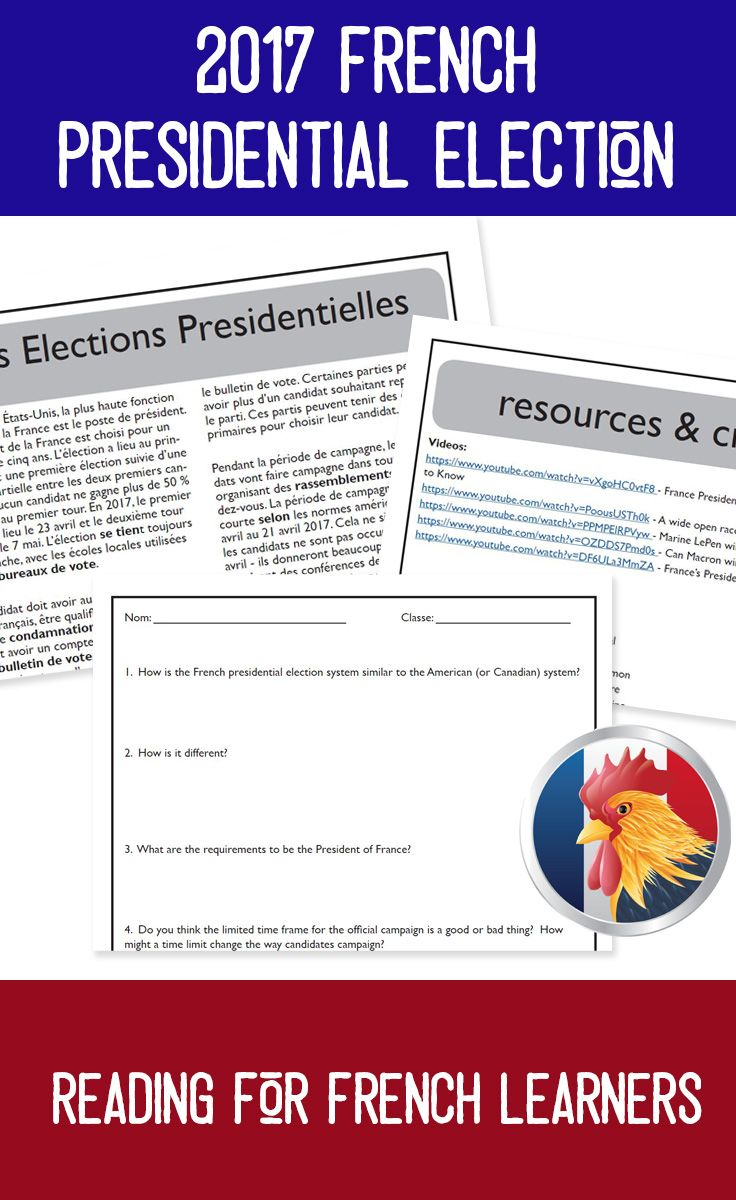 The 2017 French Presidential election is an interesting political event with a lot of possibilities that could change the direction of Europe - or continue the status quo. read about the election system, the candidates, and how the voting process works in this reading for intermediate or advanced French learners. includes a 3-page reading, comprehension/discussion questions in both French and English, answer key, and linked additional resources.