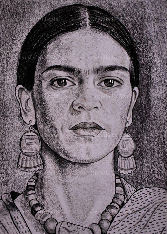 Ritratto a matita della pittrice Frida kahlo disegnato a mano , by Ornella Di Scala, 120,00 € su misshobby.com