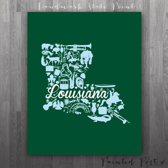 New Orleans Louisiana Landmark State Giclée Print by PaintedPost, $15.00 #paintedpoststudio - Tulane University - Waves- What a great and memorable gift for graduation, sorority, hostess, and best friend gifts! Also perfect for dorm decor! :)