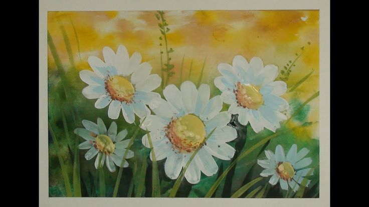Как нарисовать цветы поэтапно. Ромашки на лугу. Поэтапный ...