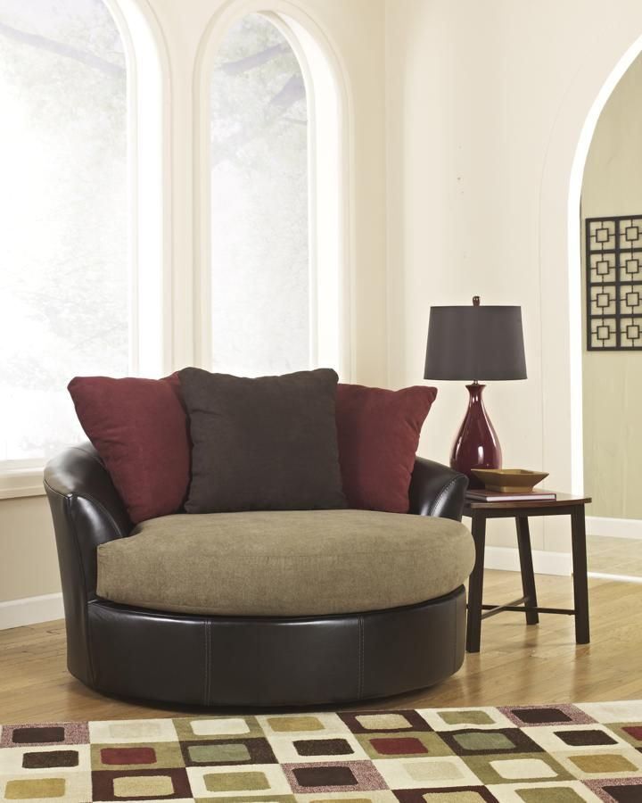 sanya mocha pu oversized swivel accent chair living room