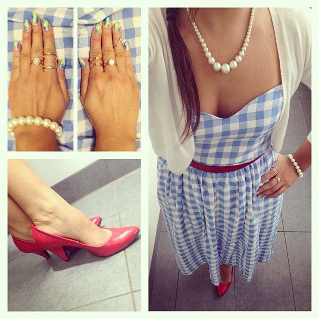 Blue and white checked dress from Primark, red patent court shoes from New Look,  necklace from Accessorize, rings from H&M, Primark and Forever 21.