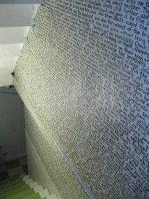 I would LOVE to do something like this!  Paint an entire chapter of a book on the wall (HP-Deathly Hollows' Tale of the Three Brothers in this picture).