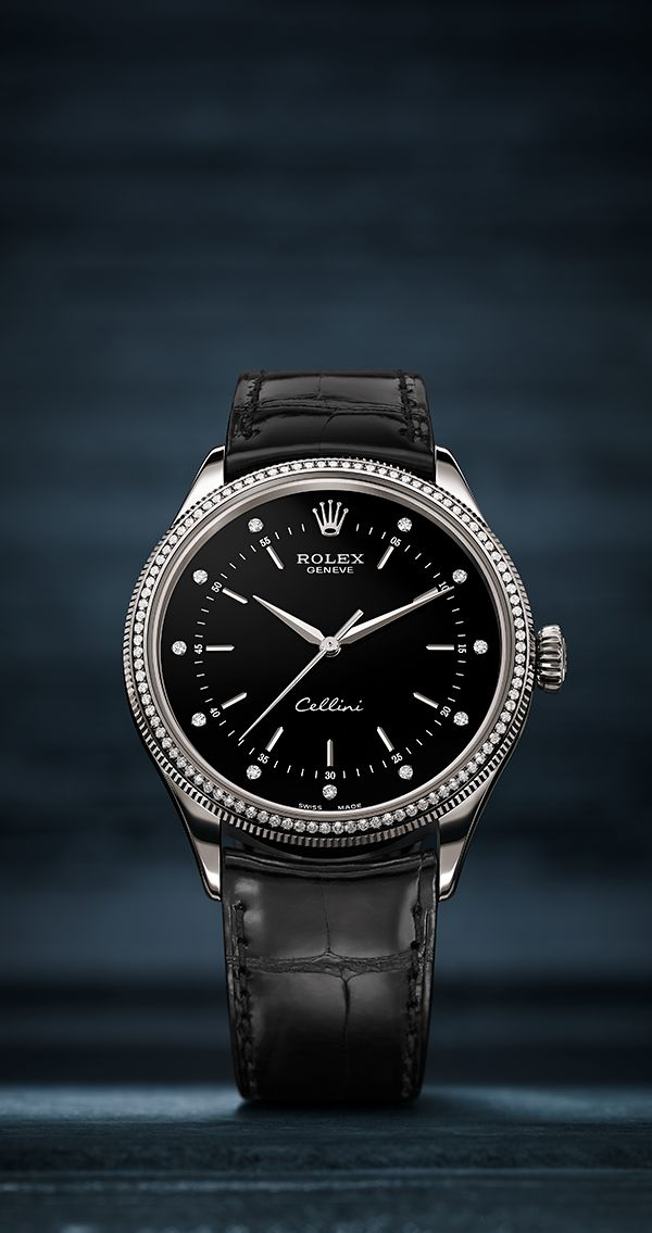 The Cellini Time in white gold, with a diamond-set dial and bezel and a black leather strap.