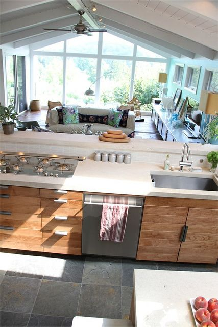 Nice layout for kitchen and living - not sure how this works for an entire floor though,