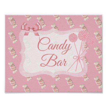 Candy Bar Sign Pink Vintage Lollipops Poster - wedding decor marriage design diy cyo party idea