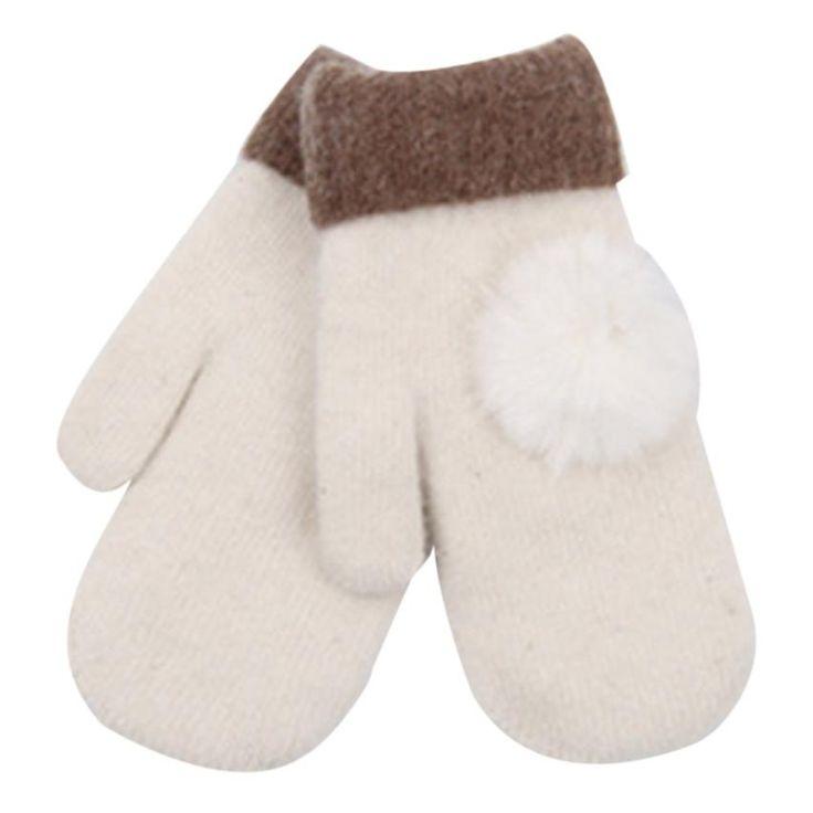 Mittens Women Fashion Ladies Gloves 2016 Hot Sale Pom Pom Women's Knitted Warm Wool Fingerless Winter Gloves Guantes de invierno