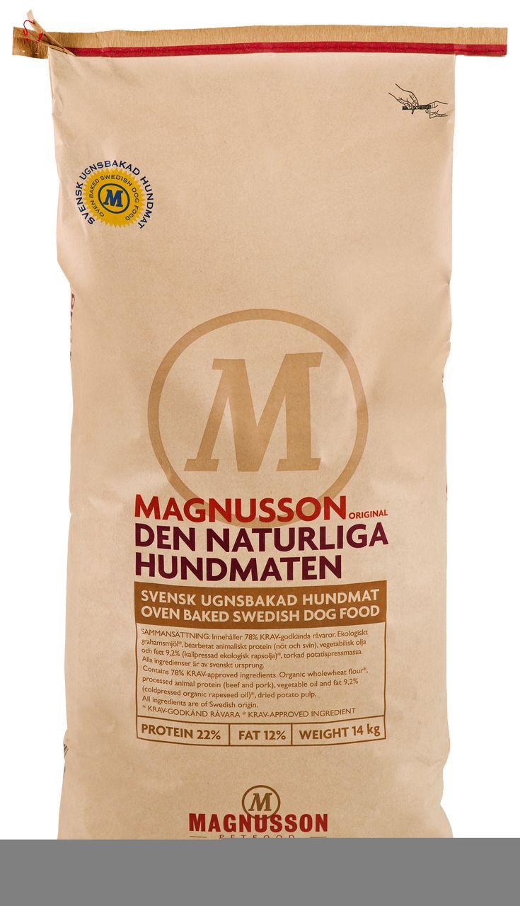 Magnusson Den Naturlige Hundematen er et fullfôr for alle hunder som dekker din hunds daglige næringsbehov. Fôret inneholder 78 % økologiske råvarer fra det svenske jordbruket. De økologiske råvarene er godkjent av den svenske kontrollforeningen for økologisk produksjon (KRAV).        www.romeojulie.no