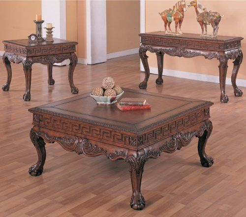 Arcata Coffee Table Set With Ball And Claw Design In Dark Brown By Wildon Home 1106 40 Traditional Style Cla Kitchen Furniture