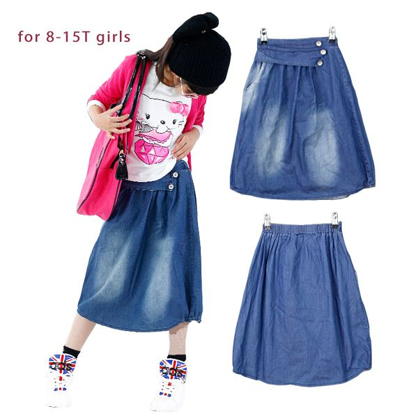 Big girl spódnica denim nastolatek dziewczyny długa spódnica jakości bawełny myte blaknięcie niebieskie dżinsy kostki długość jeans spódnica dziewczyna dzieci