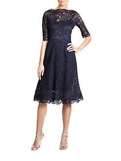 Teri Jon by Rickie Freeman - Lace Flared Dress
