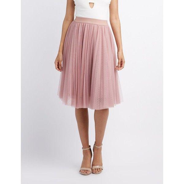 Charlotte Russe Tulle Full Midi Skirt ($27) ❤ liked on Polyvore featuring skirts, mauve, mid-calf skirts, high rise skirts, tulle midi skirts, high-waisted skirts and elastic waist skirt