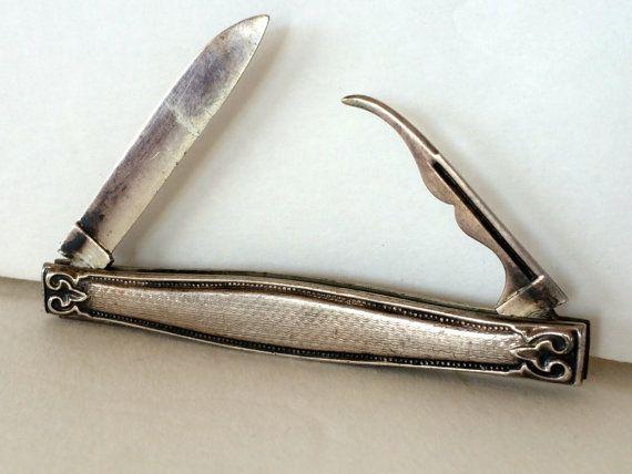 Antique Silver Pocket Knife Sterling Silver Pen by TizaVintage