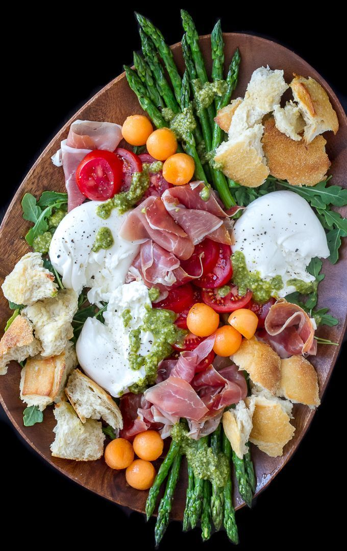 Brunch…Prosciutto Burrata Asparagus Salad with melon, tomatoes, arugula & pesto. Perfect as a salad or antipasto appetizer platter.