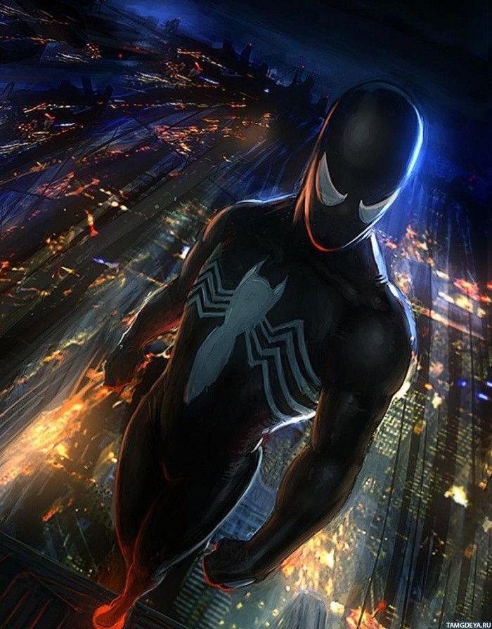 Человек-паук Веном на фоне ночного города — Рисунки на аву ...