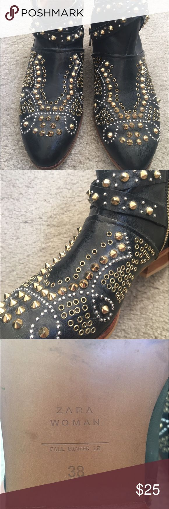 Zara studded ankle boots Black studded ankle boots from Zara. Studs and grommets in silver and gold hardware. Looks great with jeans, dresses or leggings. Worn a few times but still in great condition. Zara Shoes Ankle Boots & Booties