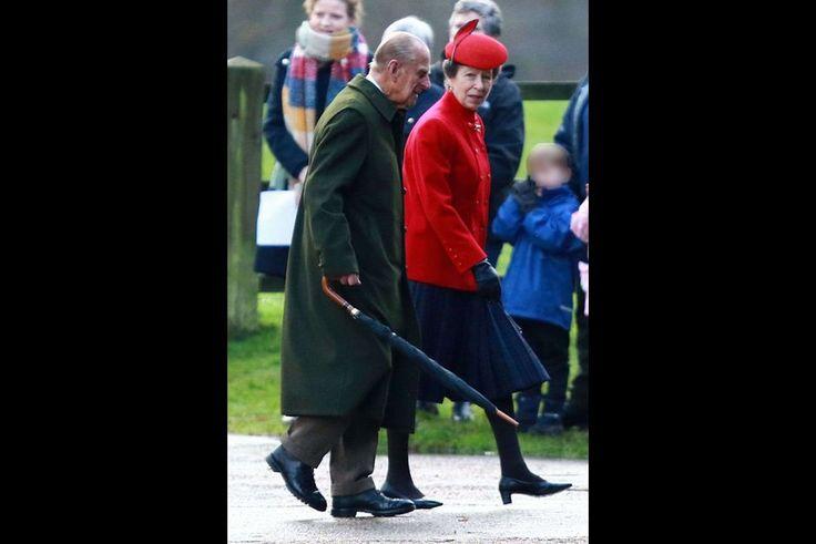 Prince Philip and Princess Anne at Sandringham, December 27, 2015
